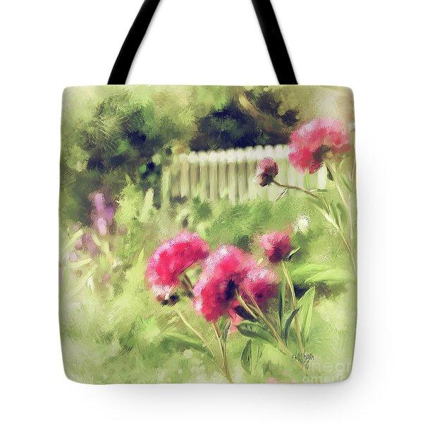 Pink Peonies In A Vintage Garden Tote Bag by Lois Bryan