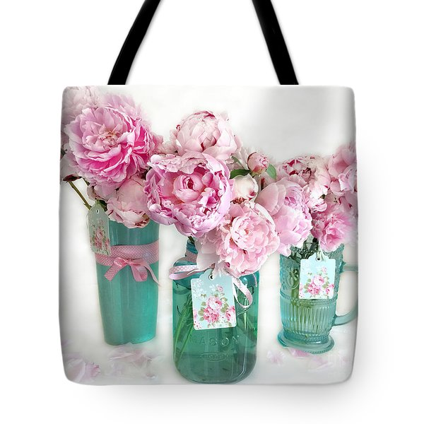 Tote Bag featuring the photograph Pink Peonies In Aqua Vases Romantic Watercolor Print - Pink Peony Home Decor Wall Art by Kathy Fornal