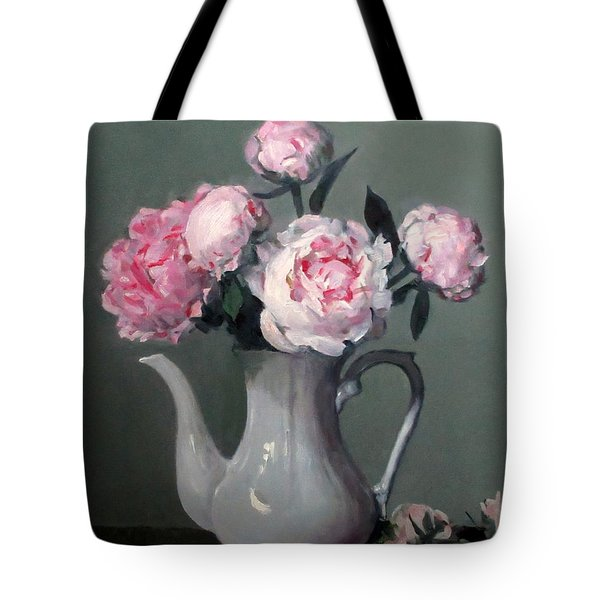 Pink Peonies In White Coffeepot Tote Bag