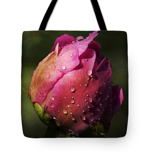 Pink Peony Bud With Dew Drops Tote Bag