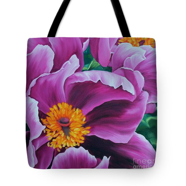 Tote Bag featuring the painting Pink Peony by Jindra Noewi