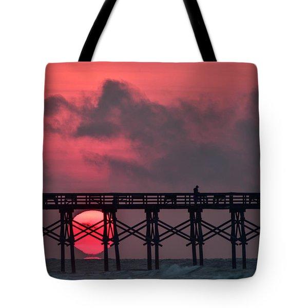 Pink Pier Sunrise Tote Bag