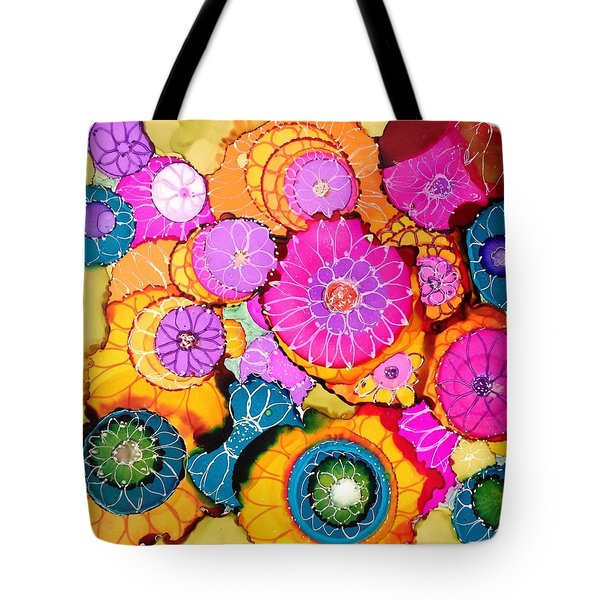 Pink Pinwheel Flowers Tote Bag by Suzanne Canner
