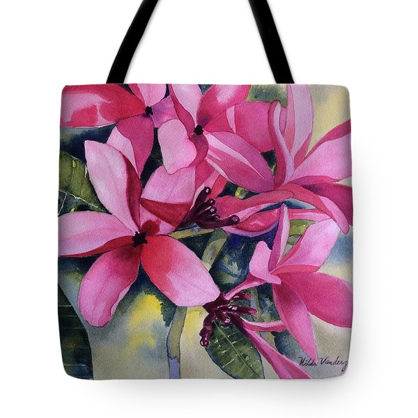 Pink Plumeria Flowers Tote Bag