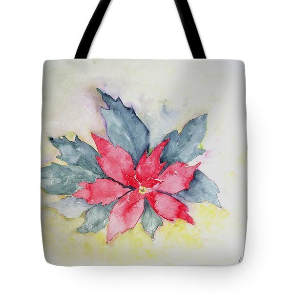 Pink Poinsetta On Blue Foliage Tote Bag