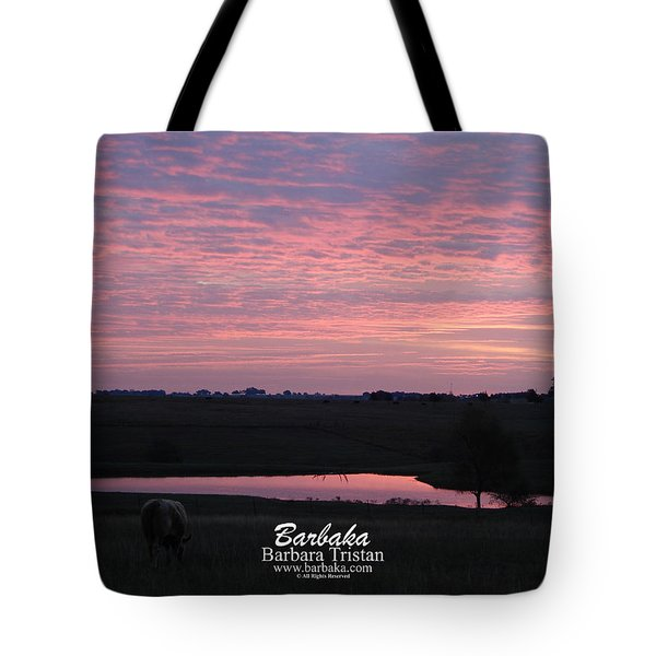 Pink Pond And Cow #5110 Tote Bag