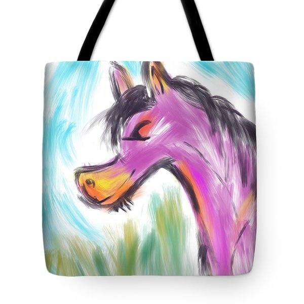 Tote Bag featuring the digital art Pink Pony by Marti McGinnis