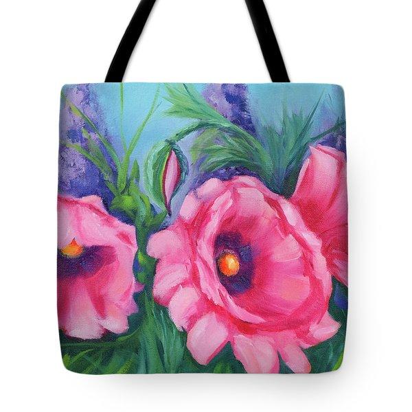Pink Poppy Field Tote Bag