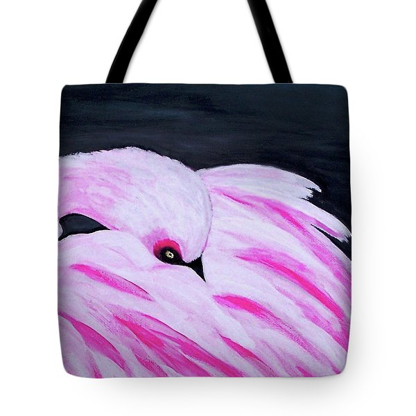 Tote Bag featuring the painting Pink Primping Flamingo by Sonya Nancy Capling-Bacle