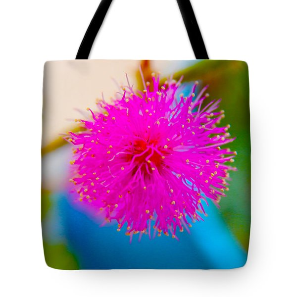 Pink Puff Flower Tote Bag