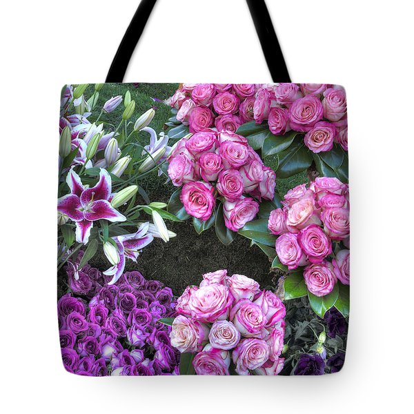 Pink, Purple And Lillies Tote Bag