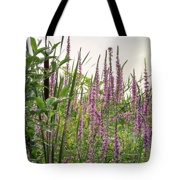 Pink Purple Beach Flowers Tote Bag