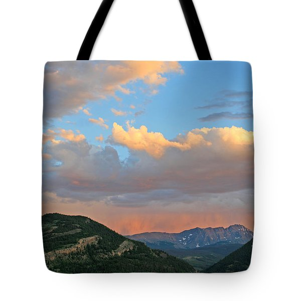Pink Rain Over The Sleeping Indian Tote Bag