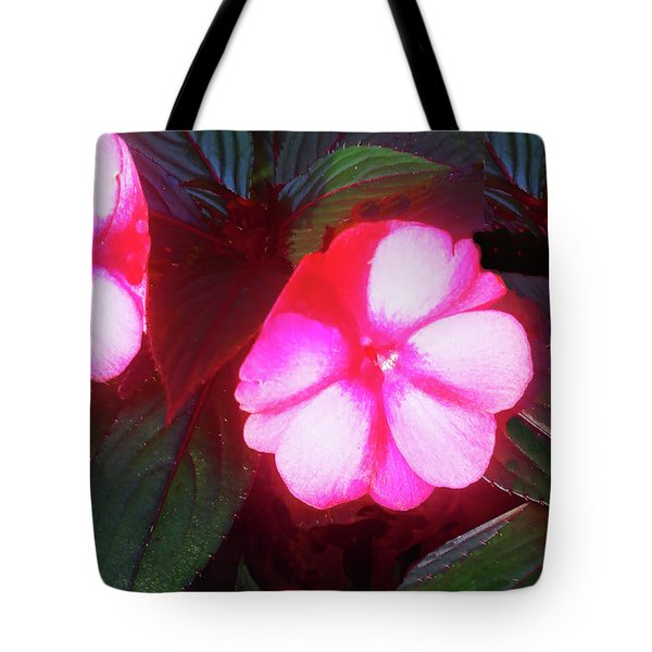 Tote Bag featuring the photograph Pink Red Glow by Roger Bester