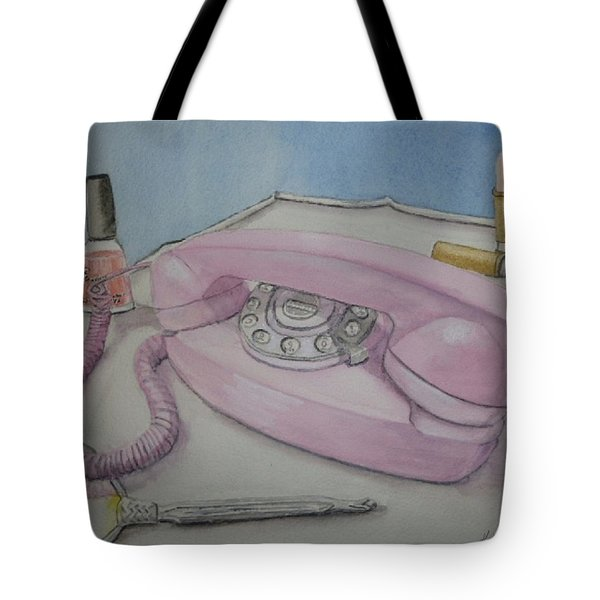 Pink Retro 1960 Telephone Tote Bag by Kelly Mills