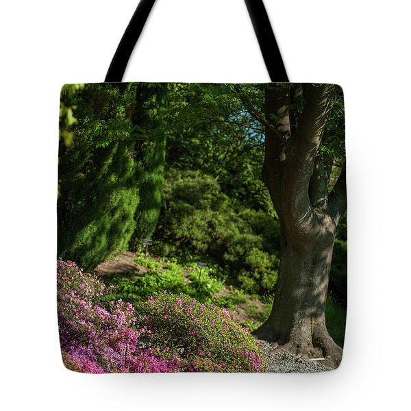 Tote Bag featuring the photograph Pink Rhododendron In Garden by Jenny Rainbow