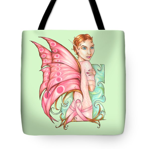 Pink Ribbon Fairy For Breast Cancer Awareness Tote Bag