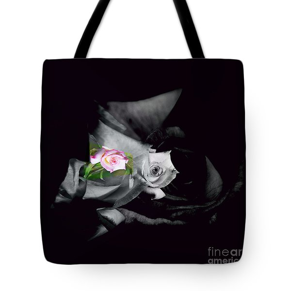 Pink Rose 2 Shades Of Grey Tote Bag by Elaine Hunter
