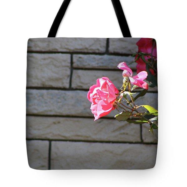 Pink Rose Against Grey Bricks Tote Bag