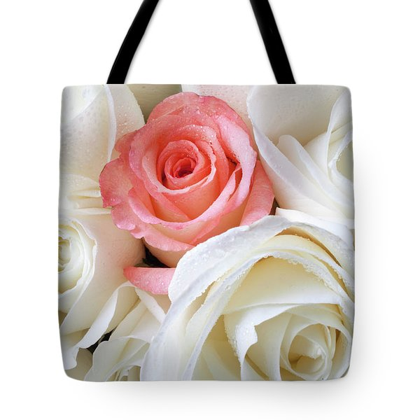 Pink Rose Among White Roses Tote Bag by Garry Gay