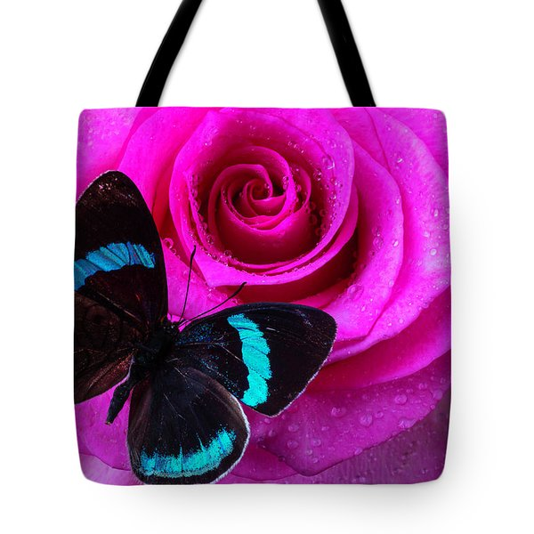 Pink Rose And Black Blue Butterfly Tote Bag