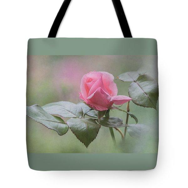 Pink Rose Bud Tote Bag by Angie Vogel