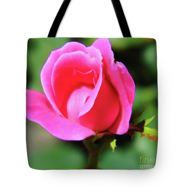 Pink Rose Bud Tote Bag