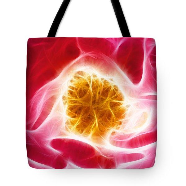 Pink Rose Fractal Tote Bag