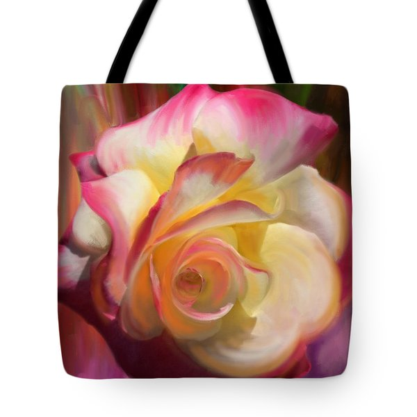 Pink Rose Tote Bag by Julianne  Ososke