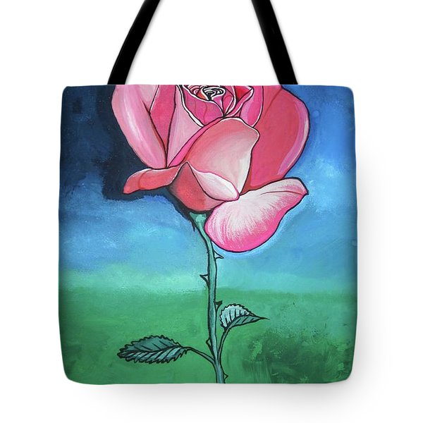 Tote Bag featuring the painting Pink Rose by Mary Ellen Frazee