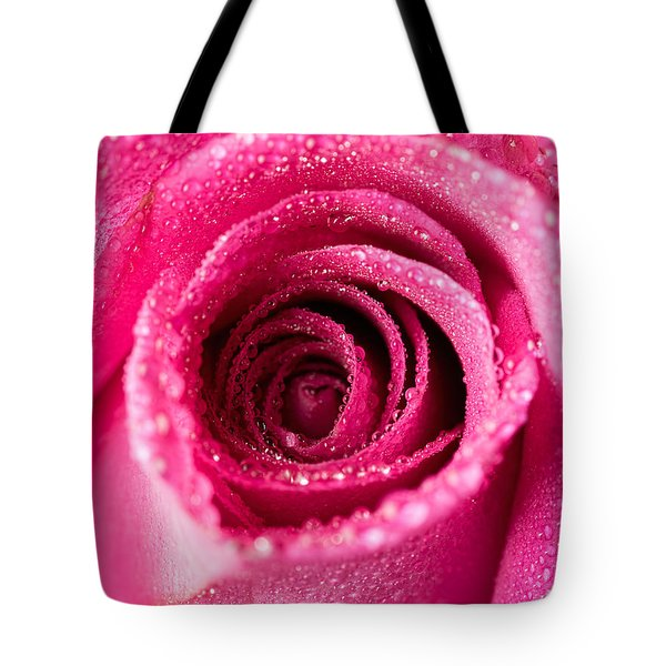 Pink Rose With Droplets Tote Bag