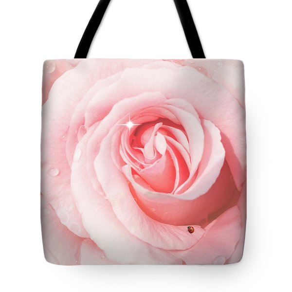 Pink Rose With Rain Drops Tote Bag