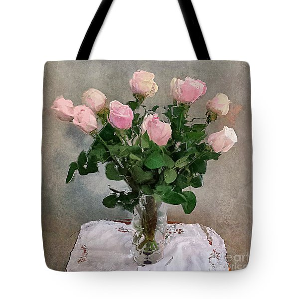 Tote Bag featuring the digital art Pink Roses by Alexis Rotella