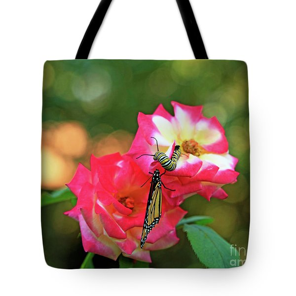 Pink Roses And Butterfly Photo Tote Bag