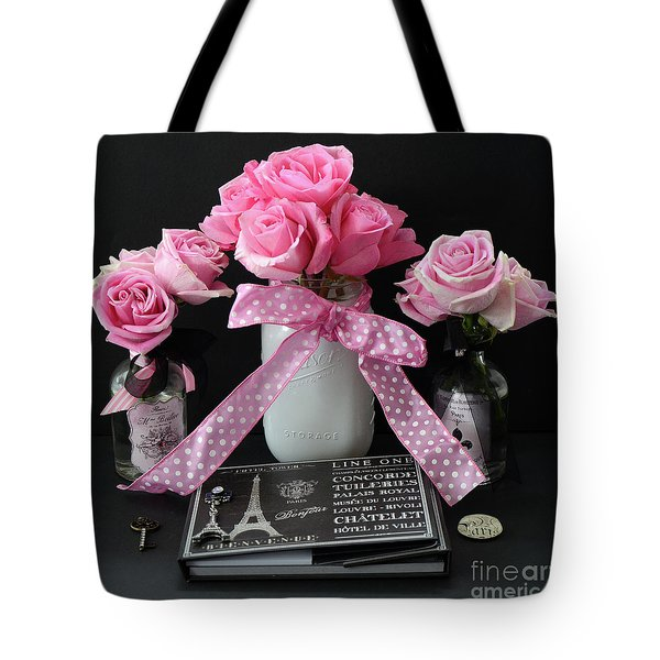 Tote Bag featuring the photograph Pink Roses French Decor - Pink And Black Parisian Wall Art - Pink Roses French Home Decor by Kathy Fornal