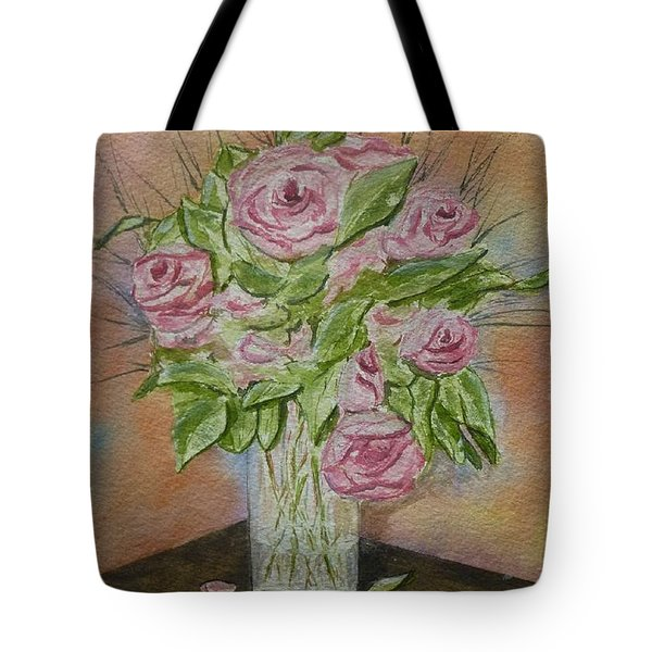Tote Bag featuring the painting Pink Roses by Kelly Mills