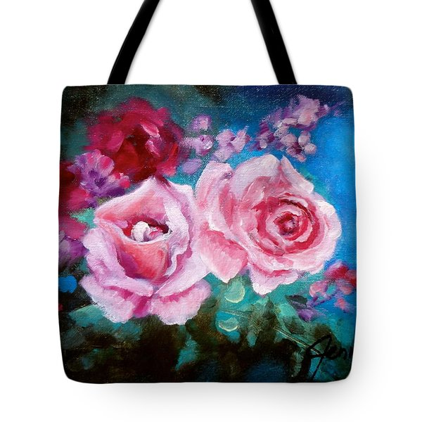 Pink Roses On Blue Tote Bag by Jenny Lee