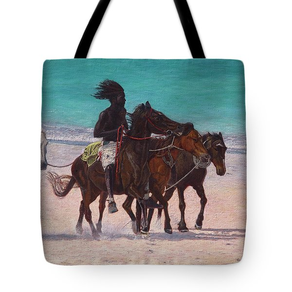 Tote Bag featuring the painting Pink Sand Rider by Ritchie Eyma
