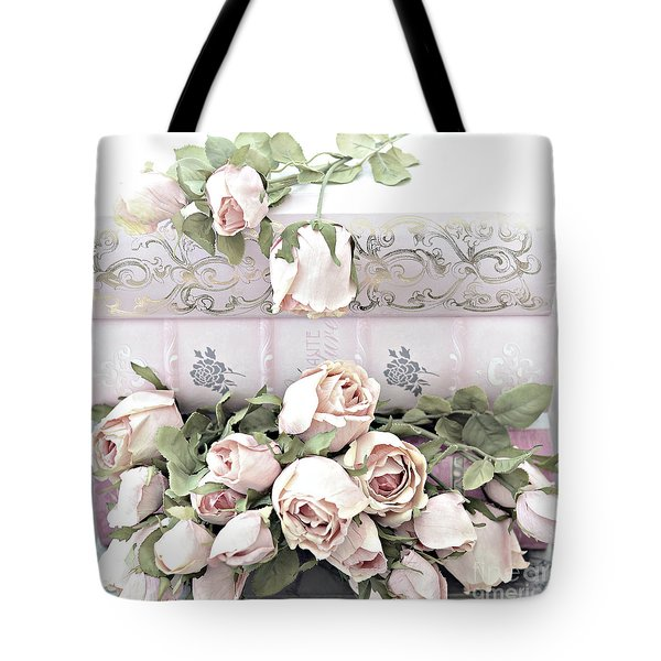 Tote Bag featuring the photograph Pink Shabby Chic Roses On Pink Cottage Books - Shabby Cottage Pink Roses Home Decor by Kathy Fornal