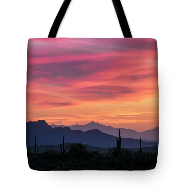 Tote Bag featuring the photograph Pink Silhouette Sunset  by Saija Lehtonen