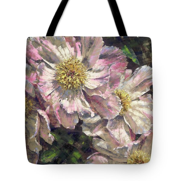 Pink Single Peonies Tote Bag