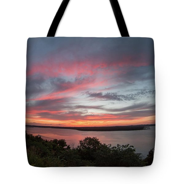 Pink Skies And Clouds At Sunset Over Lake Travis In Austin Texas Tote Bag