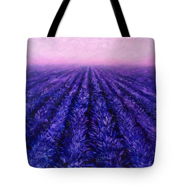 Pink Skies - Lavender Fields Tote Bag by Karen Whitworth