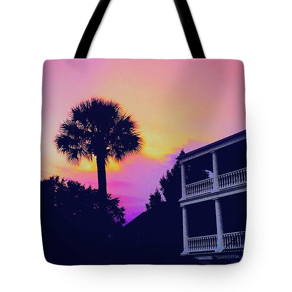 Pink Skies Tonight Over #charleston Tote Bag