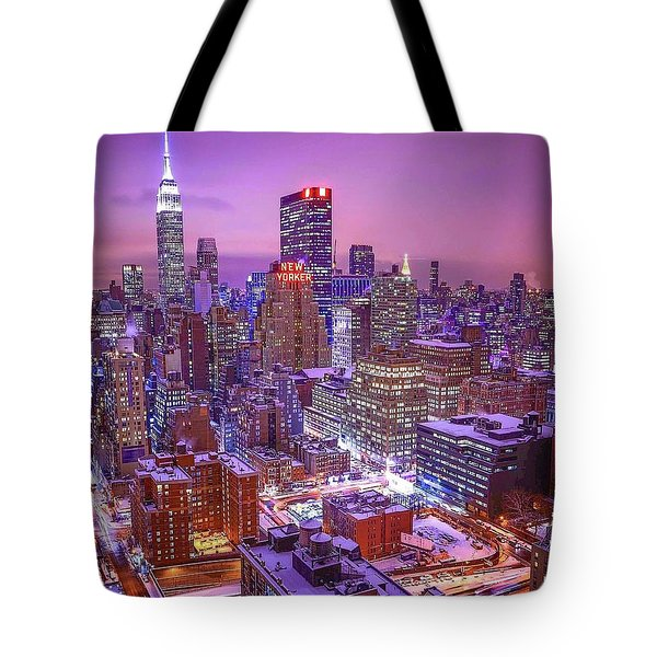 Pink Sky Above New York City Tote Bag