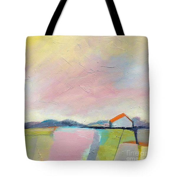Tote Bag featuring the painting Pink Sky by Michelle Abrams