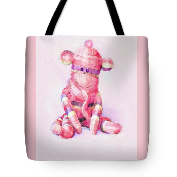 Tote Bag featuring the digital art Pink Sock Monkey by Jane Schnetlage