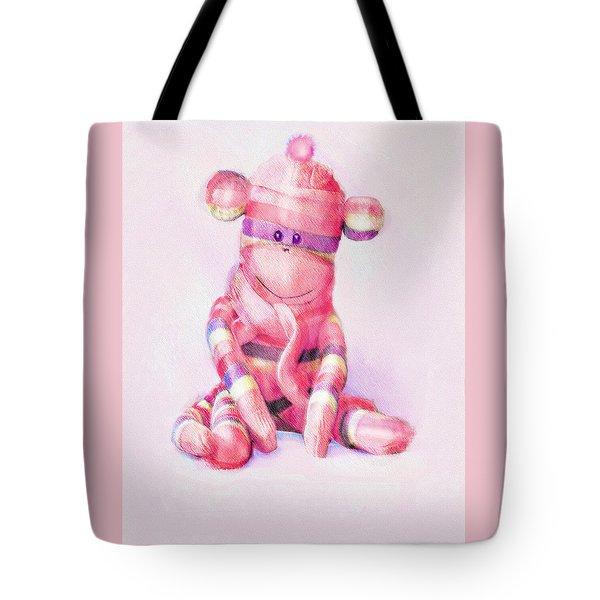 Pink Sock Monkey Tote Bag by Jane Schnetlage