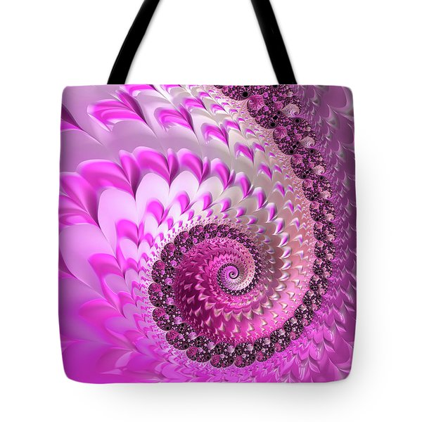Pink Spiral With Lovely Hearts Tote Bag