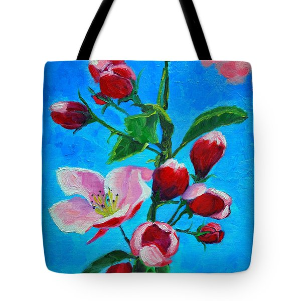 Tote Bag featuring the painting Pink Spring by Ana Maria Edulescu